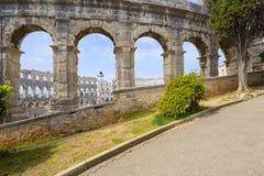 罗马圆形剧场& x28; arena& x29;在普拉 克罗地亚 库存图片