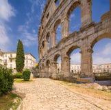 罗马圆形剧场& x28; arena& x29;在普拉 克罗地亚 免版税库存图片