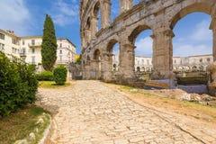 罗马圆形剧场& x28; arena& x29;在普拉 克罗地亚 免版税库存照片