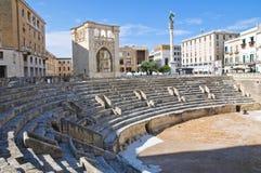 罗马圆形露天剧场。莱切。普利亚。意大利。 免版税库存照片