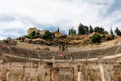 罗马圆形露天剧场在阿曼,约旦 免版税库存图片