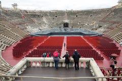 罗马圆形露天剧场在维罗纳,意大利 每年节日歌剧地方  免版税库存照片