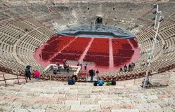 罗马圆形露天剧场在维罗纳,意大利 库存图片