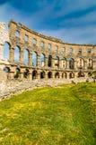 罗马圆形露天剧场普拉竞技场普拉, Istria,克罗地亚 免版税图库摄影