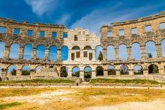 罗马圆形露天剧场普拉竞技场普拉, Istria,克罗地亚 免版税库存图片