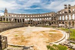罗马圆形露天剧场普拉竞技场普拉, Istria,克罗地亚 免版税库存照片