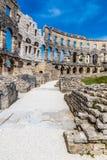 罗马圆形露天剧场普拉竞技场普拉, Istria,克罗地亚 库存图片