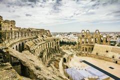 罗马圆形露天剧场的类型在El JEM城市在突尼斯 库存图片