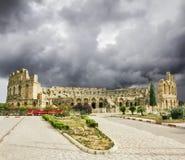 罗马圆形露天剧场的类型在El JEM城市在突尼斯 免版税库存图片