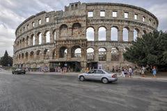 罗马圆形露天剧场竞技场,普拉,克罗地亚 图库摄影