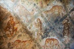 罗马墙壁上的墙壁装饰的片段在Qasr Amra一座古老Umayyad沙漠城堡的在扎尔卡,约旦 免版税库存图片