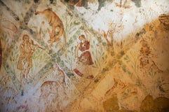 罗马墙壁上的墙壁装饰的片段在Qasr Amra一座古老Umayyad沙漠城堡的在扎尔卡,约旦 图库摄影