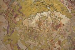 罗马墙壁上的天花板装饰的片段在Qasr Amra一座古老Umayyad沙漠城堡的在扎尔卡,约旦 库存图片