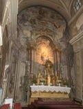 罗马天主教堂的内部,大正方形锡比乌市位于罗马尼亚 免版税图库摄影