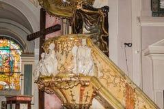 罗马天主教堂的内部,大正方形锡比乌市位于罗马尼亚 免版税库存图片