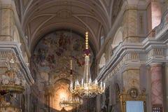 罗马天主教堂的内部,大正方形锡比乌市位于罗马尼亚 库存图片