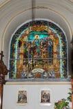 罗马天主教堂的内部,大正方形锡比乌市位于罗马尼亚 库存照片