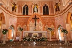 罗马天主教堂的耶稣基督在庄他武里Provinc 图库摄影