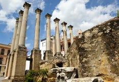 罗马寺庙废墟在科多巴,西班牙 免版税库存照片