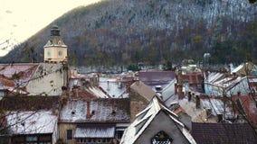 罗马尼亚中世纪镇布拉索夫看法  股票视频