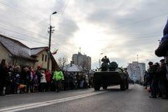 罗马尼亚人国庆节军事游行军队vehicule 免版税库存图片