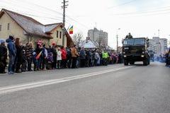 罗马尼亚人国庆节军事游行军队vehicule 图库摄影