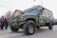 罗马尼亚人国庆节军事游行军队vehicule 免版税库存照片