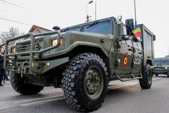 罗马尼亚人国庆节军事游行军队vehicule 库存图片