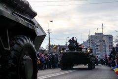 罗马尼亚人国庆节军事游行坦克军队vehicule 图库摄影