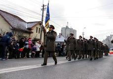 罗马尼亚人国庆节军事游行步兵 库存图片