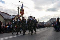 罗马尼亚人国庆节军事游行步兵 库存照片