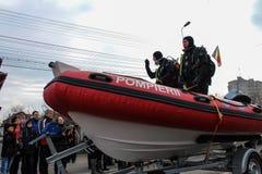 罗马尼亚人国庆节军事游行消防队员 免版税图库摄影