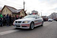 罗马尼亚人国庆节军事游行警察vehicule 库存图片