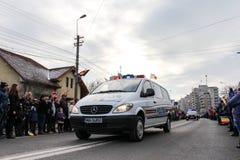 罗马尼亚人国庆节军事游行警察vehicule 免版税库存图片