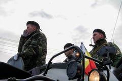罗马尼亚人国庆节军事游行 库存照片
