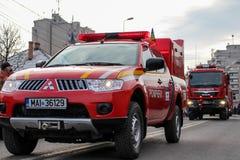 罗马尼亚人国庆节军事游行vehicule消防员 免版税库存图片
