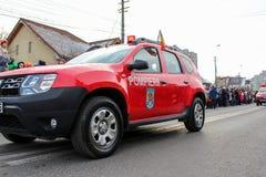 罗马尼亚人国庆节军事游行vehicule消防员 免版税图库摄影