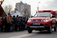 罗马尼亚人国庆节军事游行vehicule紧急状态 免版税图库摄影