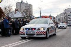 罗马尼亚人国庆节军事游行vehicule警察 免版税图库摄影