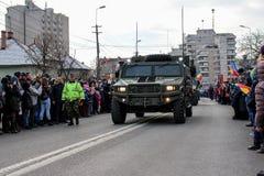 罗马尼亚人国庆节军事游行vehicule 免版税库存图片