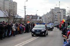 罗马尼亚人国庆节军事游行vehicule 库存照片