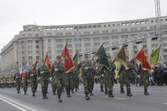 罗马尼亚人国庆节游行的重复 免版税库存照片