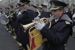 罗马尼亚人国庆节游行的重复 库存图片