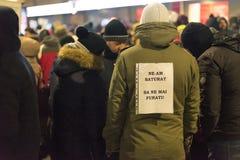 罗马尼亚人抗议在维多利亚广场 免版税库存照片