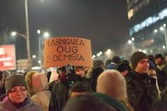 罗马尼亚人抗议在维多利亚广场 图库摄影