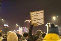 罗马尼亚人抗议在维多利亚广场 库存照片