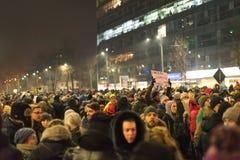 罗马尼亚人抗议在维多利亚广场 免版税库存图片