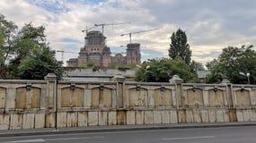 罗马尼亚人` s建设中救世大教堂 免版税库存图片