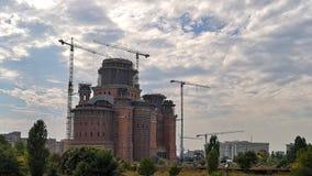 罗马尼亚人` s建设中救世大教堂 库存照片