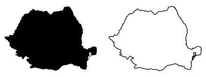 罗马尼亚传染媒介图画仅简单的锋利的角落地图  木鲁旰 库存例证